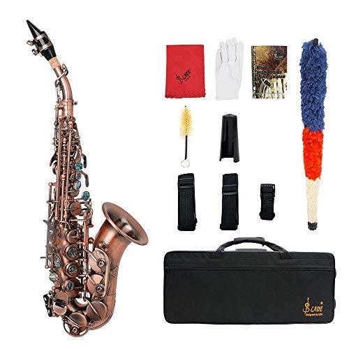 Gebogene Bb Sopransaxophon Saxophon Phosphor Kupfer Holzblasinstrument Sets Treble Kleine Biege Antique Saxophon Ausgerüstet Mit Oxford Foam Box, Pinsel