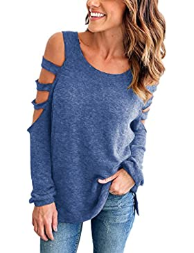 Mujeres Cut Out Manga Larga Knit Jumper Suelto Casual Suéter