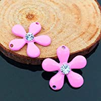 Tangpan 50pcs 1,8cm x 1,8cm frower strass pulsanti/buckleor fai da te ciondolo per fai da te accessori per capelli Pink
