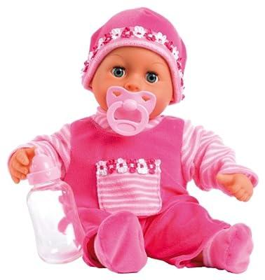 Bayer Design 93800 First Words Baby - Muñeca bebé primeras palabras (24 sonidos, 38 cm), color rosa de Bayer Design