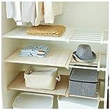 APSOONSELL ausziehbar verstellbar Aufbewahrung Rack Regal für Küche Schrank Regal Kühlschrank Kleiderschrank Bücherregal, Ohne Bohren Oder Schrauben (Weiß, Breite: 30cm, Länge: 33~53cm)