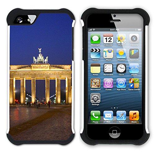Graphic4You Berlin Germany Postkarte Ansichtskarte Design Hart + Weiche Kratzfeste Hülle Case Schale Tasche Schutzhülle für Apple iPhone SE / 5 / 5S Design #4
