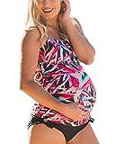 Yonglan Mujer Embarazada Bañador Tallas Grandes Tankini Traje de Baño de 2 Piezas Impresión Honda Chaleco Tops con Triángulo Bragas Dos Piezas Aspicture XXXXXL