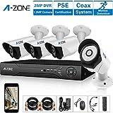 A-ZONE 4 Canales Kit Videovigilancia AHD 1080P DVR 4 x 1.3MP Cámaras de Vigilancia Exterior sin Disco Duro de 2TB