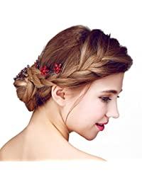 YAZILIND elegante tocado de pelo de novia pines red cubic zirconia aleacion de accesorios de pelo de la boda mujeres y ninas (6 piezas)
