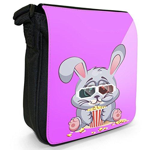 Tiere mit 3D-Brille und beim Popcorn-Essen Kleine Schultertasche aus schwarzem Canvas Kaninchen Hase fröhlich mit Schlappohren