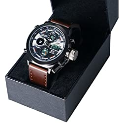 YISUYA AMST 3003 Watches Men Luxury Brand Sports Dive 30m LED Military Watches Genuine Quartz Watch + Canvas strap + Gift Box