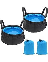 Xcellent Global 2 Pack Bassine pliante portable légère, sac à eau, seau d'eau pour le camping, les voyages, les randonnées, la pêche, 8.5L, HG145