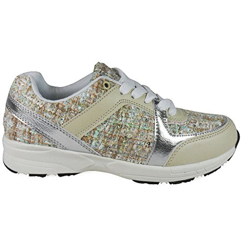 Loudlook Nouveau Mesdames Filles Femmes Lace Up Plat Marche Jogging Courir Formateurs Chaussures Taille 3-8 Beige