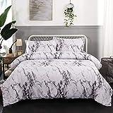 WONGS BEDDING Marmor-Bettbezug-Set für Einzelbett, Weiß und Grau, modern, wendbar, Bettbezug mit Reißverschluss, 3-teilig (1 Bettbezug + 2 Kissenbezüge), 140 x 200 cm