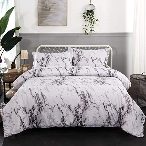 WONGS BEDDING Marmor Bettbezug Set 3-Teiliges Bettwäsche-Set grau grau Moderner Aufdruck Tröster Bettbezug-Set mit 2 Kissenbezügen, Doppelbettgröße 200 * 200 cm -
