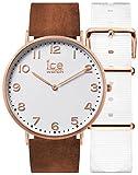 Ice-Watch - CITY Whitechapel - Montre marron pour femme avec bracelet en cuir + bracelet nylon supplémentaire - 001377 (Small)