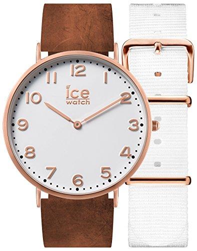 Ice-Watch - CITY Whitechapel - Braune Damenuhr mit Lederarmband + zusätzliches Nylonband - 001377 (Small)
