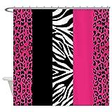 CafePress rosa Animal Print rayas de cebra leopardo cortina de ducha de ducha, Blanco, Estándar