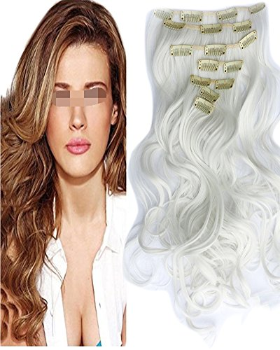 Barran 50,8 cm de long bouclés ondulés synthétique Clip en Extensions de cheveux tête complète Lot de 7 Postiche