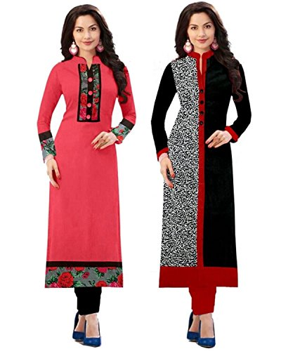 Platinum Women\'s Cotton Pack Of 2 Kurti (Plt 1702_Multicolor_Free Size, Semi-Stitched )