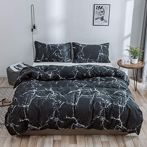 TIANQIZ Mikrofaser Bettwäsche Tröster Set mit 100% Baumwolle Marmor Muster Gedruckt Bettbezug Set mit Kissenbezug Weiß und Schwarz Bettwäsche Queen-Set (Color : Black, Size : EU-Double(200X200cm)) -