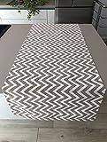 1KDreams Tovaglia Runner 50x140 cm in Cotone. Fantasia Moderna a Righe Zig Zag. Made in Italy. (50x140 cm)