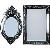 MADHUSUDAN GLASS WORKS Mirror & Plywood Wall Mirror (Pack Of 2, Silver) - B07BJ48755