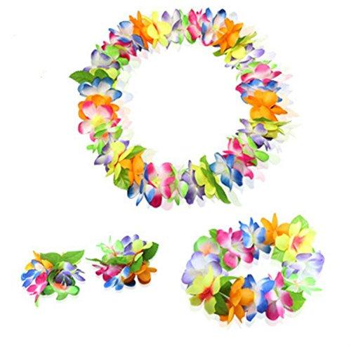 Sun Glower Special Tropical Plastic Girlande Blume Hawaiian Island for Party Decor 1 Neck Ring und Stirnband + 3 Armband Perfekt für Ihre Freunde bunt