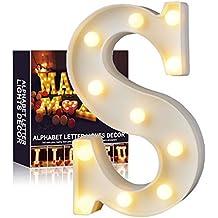 A-Z Alphabet Light White LED Lámparas de noche Plastic Letter Standing Hanging Lighting para Wedding Party
