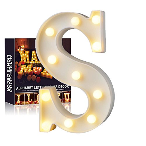 A-Z Alphabet Light White LED Night Lamps Plastic Letter Standing Hanging Lighting for Wedding Party...