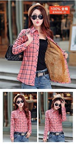 Bigood Femme Fashion Blouse Avec Velours Carreaux Chemise Slim Epais Manches Longue Rouge