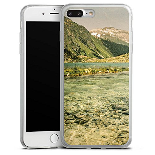 Apple iPhone 8 Plus Slim Case Silikon Hülle Schutzhülle Berglandschaft Fluss Wald Silikon Slim Case transparent