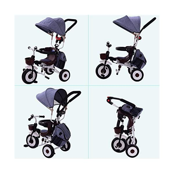 BGHKFF 4 In 1 Childrens Folding Tricycle 5 Months To 5 Years Silent Blockable Rear Wheels Childrens Tricycles Folding Sun Canopy Push Handle Child Trike Maximum Weight 60 Kg,Blue BGHKFF ★ 4-in-1 multi-function: convertible into stroller and tricycle. Remove the guardrail and awning as a tricycle. ★Material: Thick carbon steel, suitable for children from 5 months to 5 years old, maximum weight: 60 kg ★ Tricycle foldable, space saving, easy to carry, great gift: perfect gift for children's birthday or Christmas. Easy to assemble When you don't use it, you can fold it and store it in any corner. 4