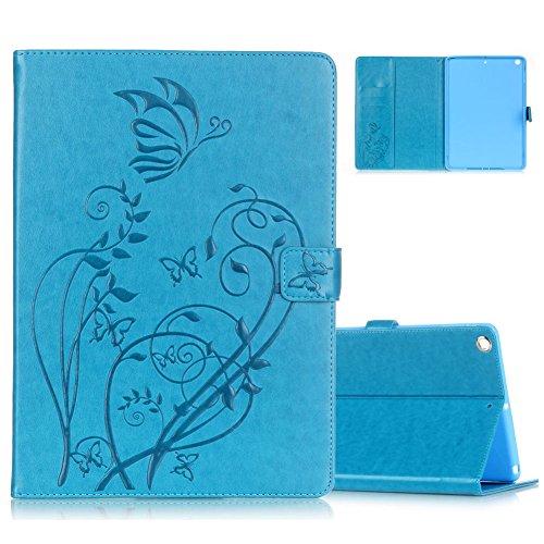 Preisvergleich Produktbild Aeeque® Blau Lederhülle für iPad mini / mini 2 / mini 3, Ultra Slim Leichtgewicht Flip [Standfunktion Card Slots Kartenfach] Drucken Schmetterling Blume Motiv Kunstleder Wallet Case Cover
