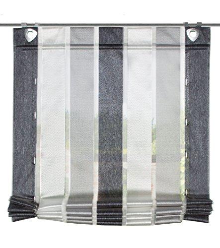 Hängen Roman Blind (Home Fashion BÄNDCHENROLLO LÄNGSSTREIFEN, Stoff, anthrazit, 130 x 60 cm)