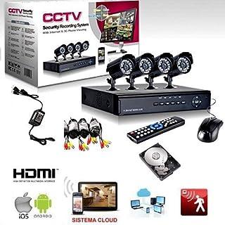 Videoüberwachungsset H264, 4-Kanal Überwachungskameras, Infrarot, DVR, 4 Netzteile, 4 Verlängerungskabel,Festplatte mit 500GB