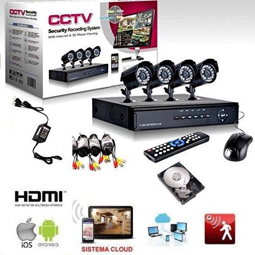 KIT VIDEOSORVEGLIANZA h264 CCTV 4 CANALI TELECAMERA INFRAROSSI DVR 4 CANALI – 4 ALIMENTATORI – 4 PROLUNGHE – HARD DISK 500 GB