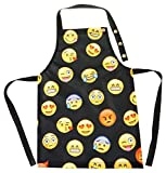 Ferocity Kinderschürze Kind Malschürze Kunstkittel Kochschürze Apron Werkschürze mit Einem Märchenmotiv Emoji Emoticon Gelb Schwarz [074]