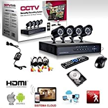 KIT VIDEOSORVEGLIANZA h264 CCTV 4 CANALI TELECAMERA INFRAROSSI DVR 4 CANALI - 4 ALIMENTATORI - (Tvl Telecamera Bullet)