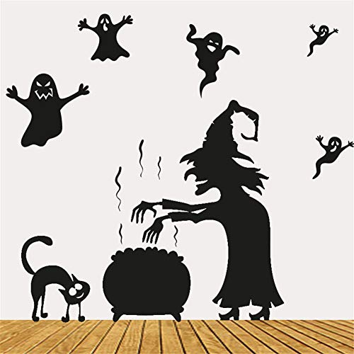 Halloween dekoration schwarze katze wandtattoo muster aufkleber wandaufkleber DIY schnitzen kinderzimmer küche dekoration kindergarten vinyl tapete