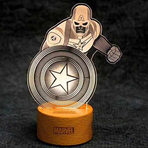 Veilleuse Avengers America Led Visuelle Marvel Créatif Table 3dIron Lampe Cadeau ManSpidermanPantherCaptain Stéréo De Moderne XuOiTPkZlw