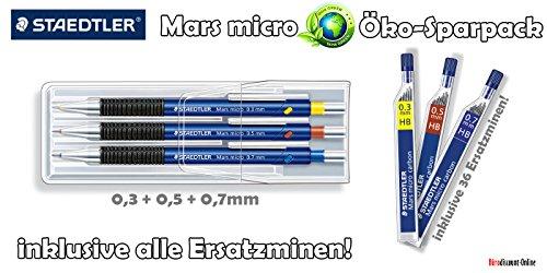 Staedtler Marsmicro 0,3-0,7 3er Set farbig | Öko Set mit Nachfüllminen HB 0,3 0,5 0,7