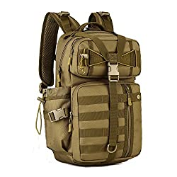 Huntvp 30l Molle Tactical Backpack Military Assault Pack Large Laptop Waterproof Rucksack For Hiking Camping Brown