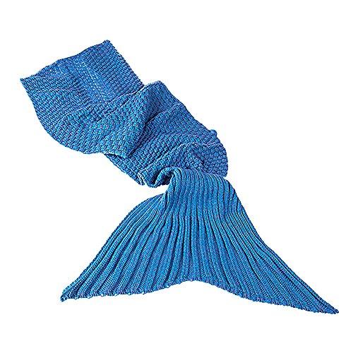 Monsterzeug Meerjungfrauen Decke Blau für Kinder, Meerjungfrauflosse als Kuscheldecke, Häkeldecke Meerjungfrau, Mermaid Schlafsack Gestrickt, kuscheligweich und hält Warm