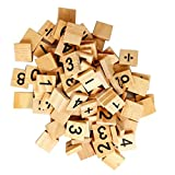 WINGONEER 100PCS Wooden Scrabble Tiles Numbers and Equation Signs