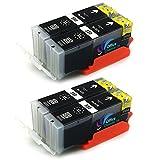 Patronen für Canon Pixma IP7250 MG5450 MG6350 MX725 MX925 kompatibel zu PGI-550XL CLI-551XL ((5) 4x BK)