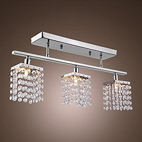 3 Lights Chandelier in Rectangle Shape with Hanging Crystal, Modern Chandeliers Flush Mount, Crystal Ceiling Light for Dining Room, Bedroom, Living Room [Energy Class
