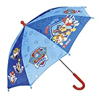 Paw Patrol Kids Umbrella - Children Stick Umbrella with Marshall, Chase and Rubble - Windproof and Resistant Brolly - Safety Opening - 3 to 5 Years - Blue - Diameter 66 cm - Perletti