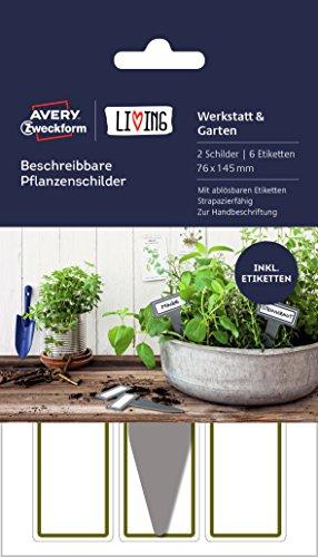 Avery Zweckform 62028 Living - Etiquetas para plantas (76 x 145 mm), color blanco y gris