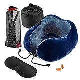 Cuscino da viaggio, DazSpirit Memory Foam Neck Support Pillow U collo Cuscino Cervicale da viaggio regolabile, bottiglia d'acqua pieghevole, maschera per gli occhi, tappi per le orecchie (Blu)