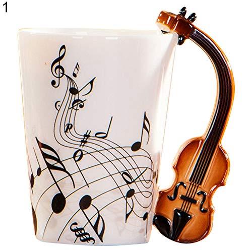 xMxDESiZ Kreative Gitarrenmusik Hinweis Keramik Kaffeetasse Home Office Milch Tee Wasser Tasse 1#