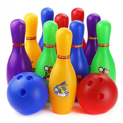 Lommer 12 Stück Bowling Set Kinder Kinder Pädagogisches Spielzeug Home Indoor Outdoor Sport (Large)