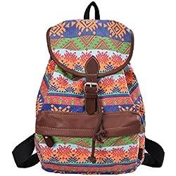 DGY - Moda la mochila de lona y PU cuero Bolsos de Mujer Bolsa de Viaje Mochilas Tipo Casual 164 Naranja-2