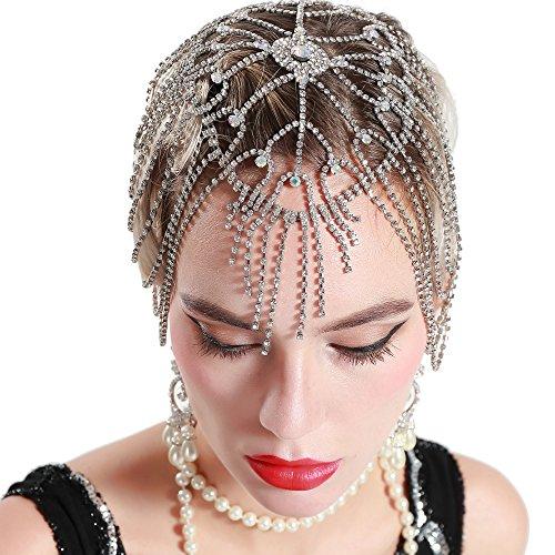 ArtiDeco 1920s Stirnband Damen Haar Kette Gatsby Kostüm Accessoires 20er Jahre Flapper Blinkendes Haarband